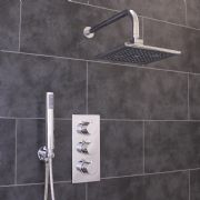 Thermostatic 2 Way Shower Valve | 3 Round Handles with Rectangle Overhead Shower Drencher & Handset | EcoSpa®